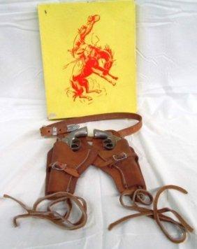 Vintage Hubley Top Grain Steer Hide Cowboy Holster Sets