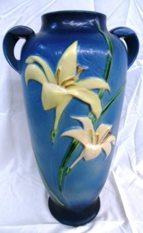 Large Original Roseville Pottery Zephyr Lily Floor Vase
