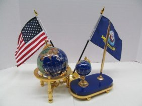 Blue Lapis W/gold World Globe Rotating On Stand & Blue