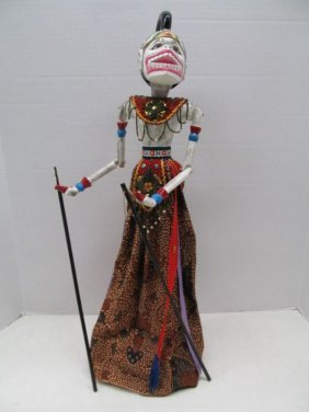 "Vintage Ukuran Nama Signed Wood Puppet ~ 23"" Tall On"