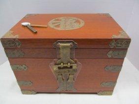 Vintage Wood Oriental Jewelry Box W/key Lock & Key
