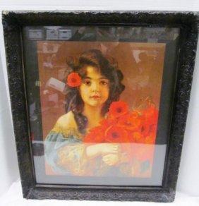 Vintage Carved Wood Framed Print ~ Girl With Red