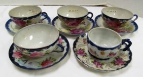 Lot Of 5 Mixed Hand Painted Flow Blue Cups & Saucers