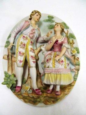 Porcelain Bisque 3-d Figural Plague ~ Lady & Gent