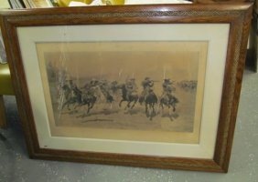 Antique Remington Printed Beautifully Framed In Vintage