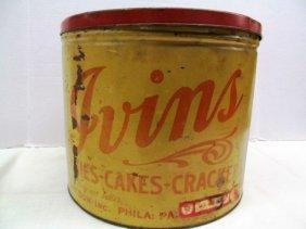 "Vintage Large Ivins Pies - Cakes - Crackers Tin ~ 10"" X"
