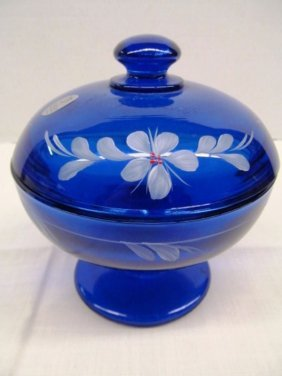 Fenton Cobalt Blue Signed Hand Painted Covered Candy