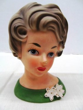 Vintage Ardco Lady In Green Head Vase 95-1