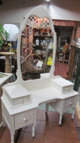 Antique White Vanity Dresser W/mirror & Bench