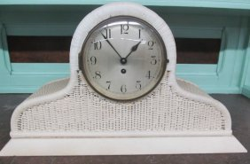 Wicker Key Wind Mantle Clock W/key & Pendulum