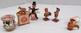 Vintage 6 Wood Miniature Figures ~ Carousel ~ Chimney
