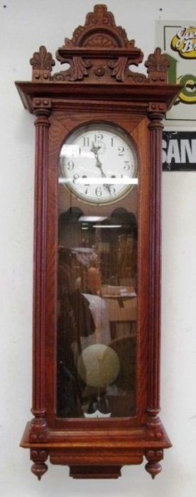 "Tall Wood Waterbury Clock ~ Key Wind ~ 48"" Tall (4 Ft."