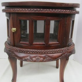 Mini Chocolate Commode ~ Wood Framed W/glass Windows ~