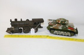 "Cast Iron Train Engine 12"" And Tin Litho Tank 2 Pc."