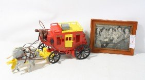 Lot With 1950's Alamo Stagecoach And Rin Tin Tin P