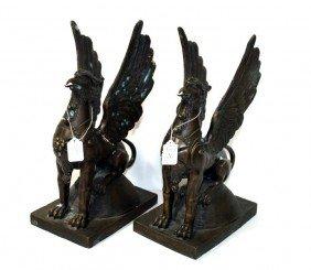 "Pair Of 16"""" Bronze Winged Gargoyles With High Degr"
