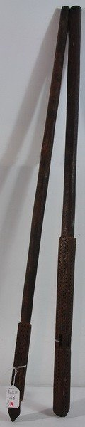 Pair Of Tramp Art Wooden Walking Sticks