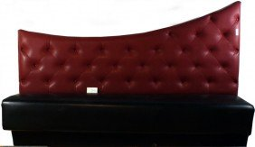 Custom Made Leather Bench With Button Tufted High