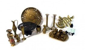 Brass Lot With Candlesticks And More