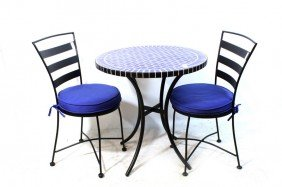 Cafe Tables With 2 Metal Chairs And Blue Tile Inla