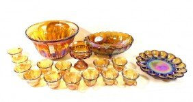 Marigold Carnival Glass Set With Punch Bowl, Footed