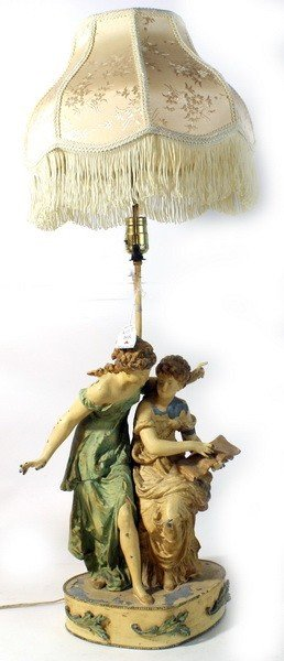 "Iron Lamp Depicting Ladies Signed """"Franca Paris"""""