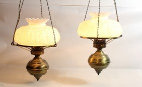 Two Hanging Lamps With Glass Shades