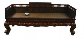 "78"" Chinese Opium Bed With Original Rush Seat And"
