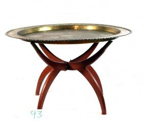 Brass Chinese Charger With Folding Wooden Base. 29""""