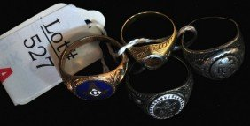 2 Sterling WWII Navy Rings With Gold Masonic Ring
