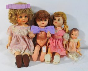 Four Doll Lot Eyes Open And Close, Three With Clo