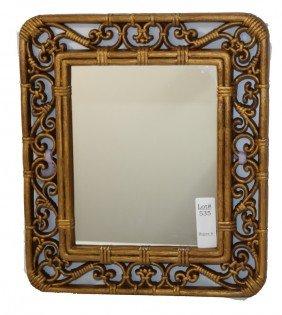 Brown Plastic Frame Around Mirror 12x14