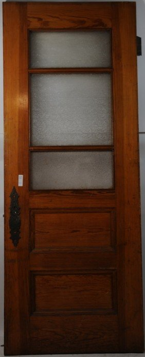 646 32x80 5 Panel Door With Frosted Glass In Three Pan Lot 646