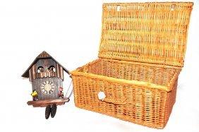 Black Forest Cuckoo Clock In Wicker Picnic Basket