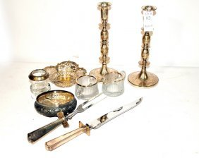 Group Of Sterling Items With Heisey Silver Rimmed C