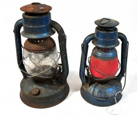 Pair Of Blue Dietz Barn Lanterns One With Red Shad