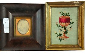 """Two Piece Lot A Framed Needlework 5x7"""" In Old Frame"""