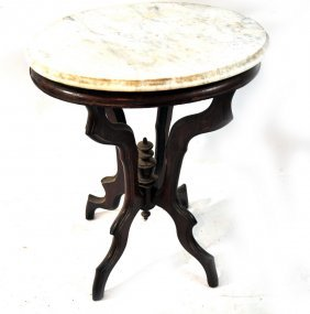 "Walnut Oval Marble Top Stand 22"" Diameter 27"" High"