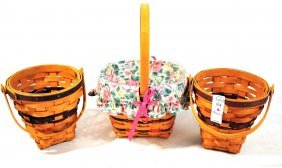 Three Longaberger Baskets, All With Handles, Two W