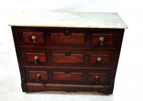 Marble Top Walnut 3 Drawer Dresser 41x31x17
