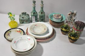 "Glass And China Lot Including: Pair Of 4"" Hand Pain"