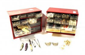 2 Metal Storage Cases Filled With Buttons, Jewelry