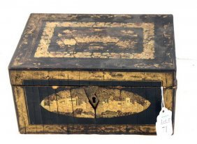 Chinese Laqueur Box With Gold Design With Inserts