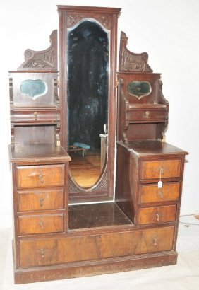 "Walnut Dresser/vanity With Mirror 44"" Wide"