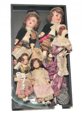 Collection Of Five Vintage Dolls