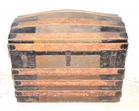 Victorian Steamer Wooden Dome Top Trunk