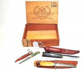 Collection Of Knives In A Wooden Box To Include