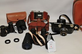 Collection Of Vintage Binoculars And Cameras