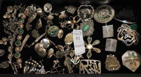 Over 50 Pieces Of Sterling Silver Jewelry 12ozt