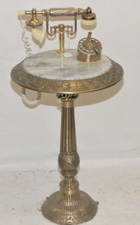 Brass And Marble Telephone Table